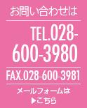 お問い合わせは TEL 028-600-3980 FAX 028-600-3981 メールフォームはこちら